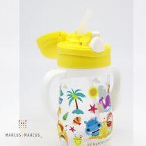 Παιδικό Μπουκάλι Tritan καλαμάκι σιλικόνης, χερούλια εκμάθησης κίτρινο Marcus & Marcus