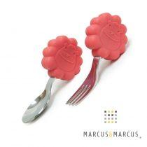 Βρεφικό Κουτάλι & Πιρούνι σετ με λαβές σιλικόνης Λιονταράκια Marcus & Marcus