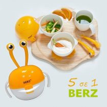 Berz Βρεφικό Σετ Μπολ Φαγητού 5 σε 1 Πορτοκαλί Καβουράκι