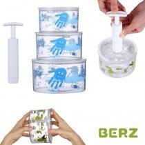 Αεροστεγή Δοχεία διατήρησης παιδικών τροφών Tritan με Κενό Αέρος & τρόμπα BERZ Γαλάζια 3τμχ.