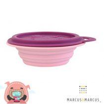 Βρεφικό Μπολ Πτυσσόμενο με καπάκι Φαγητοδοχείο σιλικόνης Marcus & Marcus Γουρουνάκι ροζ