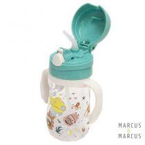 Παιδικό Μπουκάλι Tritan καλαμάκι σιλικόνης, χερούλια τιρκουάζ Marcus & Marcus