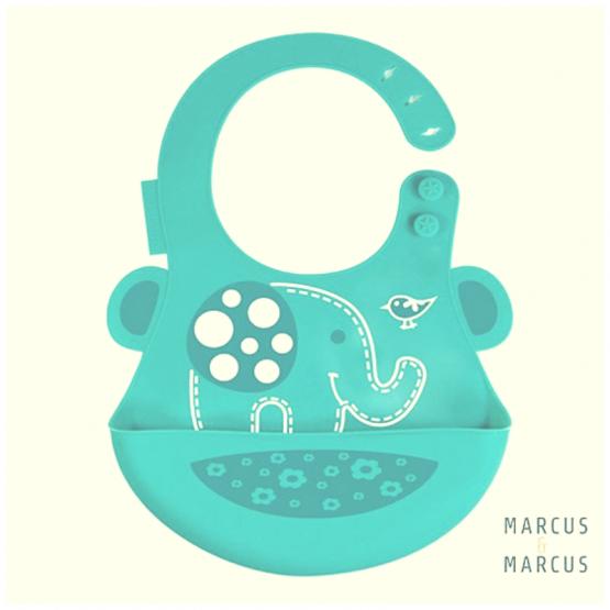 Σαλιάρα σιλικόνης με χούφτα ψίχουλων Ελεφαντάκι Marcus & Marcus