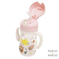 Παιδικό Μπουκάλι Tritan καλαμάκι σιλικόνης, χερούλια εκμάθησης ροζ Marcus & Marcus