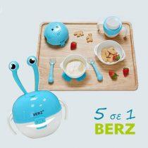 Berz Βρεφικό Σετ Μπολ Φαγητού 5 σε 1 Γαλάζιο Καβουράκι