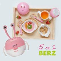 Berz Βρεφικό Σετ Μπολ Φαγητού 5 σε 1 Ροζ Καβουράκι