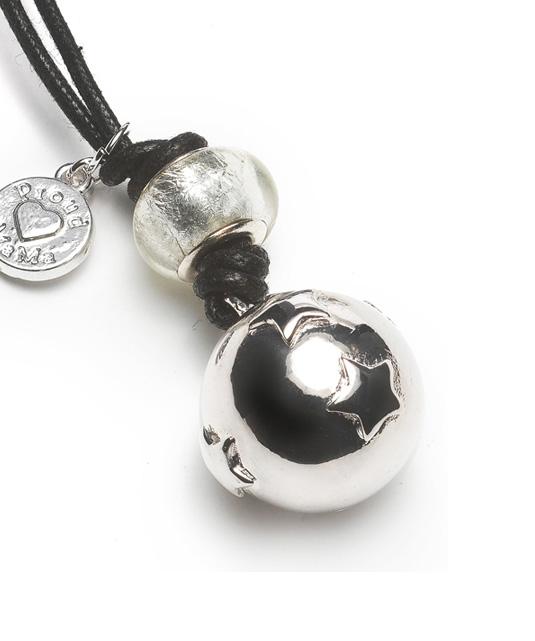 ProudMama Babybell Αστέρια (Silver) με Μαύρο κορδόνι