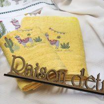 Σετ Πετσέτες 3 τεμαχίων Hello Lama κίτρινο