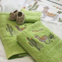 Σετ Πετσέτες 3 τεμαχίων Hello Lama πράσινο