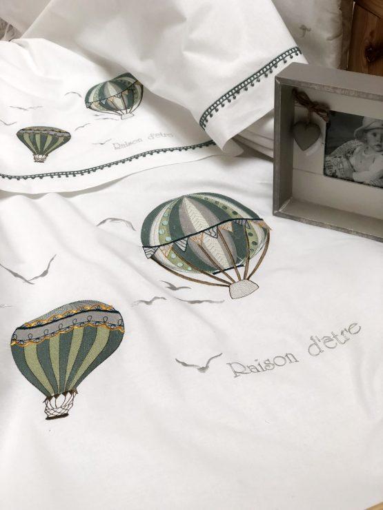 Σετ Σεντόνια κρεβατιού Hot-Air Balloon Λαδί