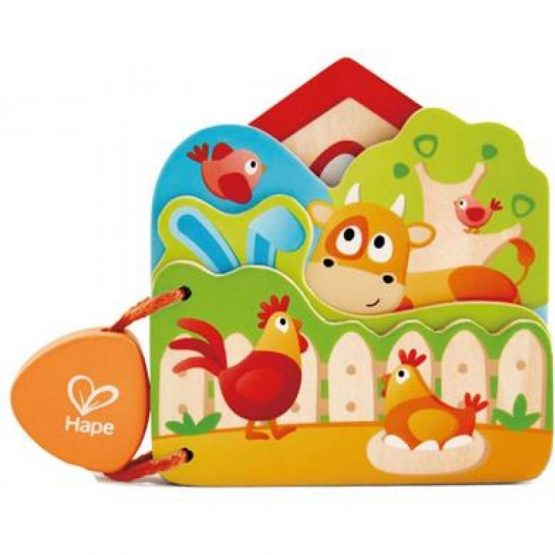 Hape Early Explorer Ξύλινο Βιβλιαράκι Baby's Farm Animal