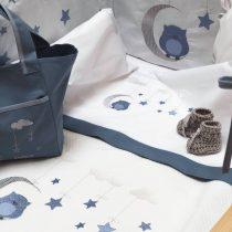 Raison D' Etre Σετ Σεντόνια Κούνιας Dreamy Owl 120x160cm blue